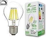 greenandco Glühfaden LED Lampe dimmbar ersetzt 70 Watt E27 Birne, 8W 960 Lumen 2700K warmweiß Filament Fadenlampe 360° 230V AC nur Glas, flimmerfrei, 2 Jahre Garantie