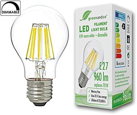 greenandco® Glühfaden LED Lampe dimmbar ersetzt 70 Watt E27 Birne, 8W 960 Lumen 2700K warmweiß Filament Fadenlampe 360° 230V AC nur Glas, 2 Jahre