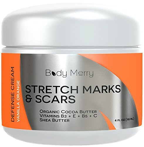 Body Merry Stretch Marks and Scar Cream - Vanilla Orange - Best Body Moisturizer to Prevent and Reduce Old and New Marks & Scars - Natural & Organic for Pregnancy- Also for Men- 4 oz
