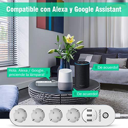 TAOCOCO Regleta inteligente,  Smart Power Strip con 4 zócalos y 3 USB,  Admite control por voz/Control remoto/Temporizador para la aplicación/Compatible con Alexa Google Home e IFTTT Multiplex Smart