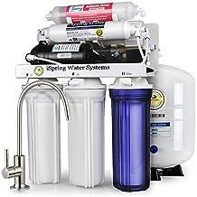 Sistema de filtrado de agua iSpring 75GPD de ósmosis inversa alcalino pH de 6 etapas con bomba potenciadora, modelo RCC7PAK