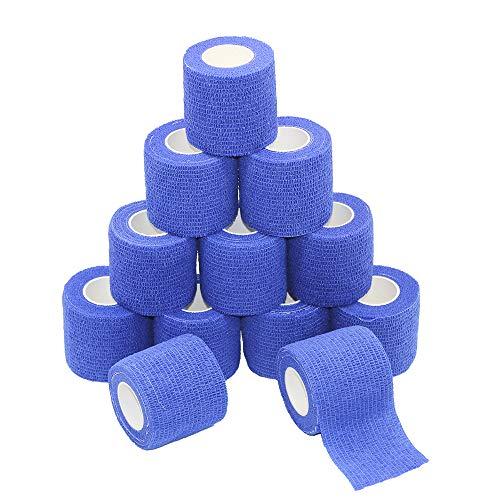 Fuluning, 12 Stück, 5,1 cm x 1,9 m, selbsthaftendes Klebeband, Sport-Bandage starkes Sport-Band für Handgelenk, Sprunggelenk, Verstauchungen und Schwellungen, selbstklebend, dunkelblau