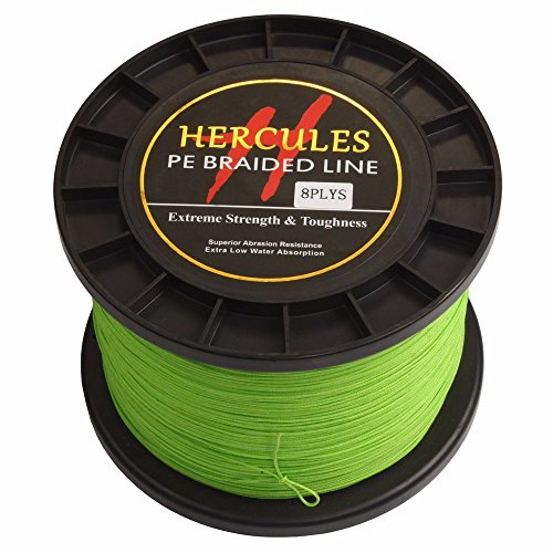 Hercules PE Superline geflochtene Angelschnur 2000?m 2187yds 10lb-200lb, 8-fach, Herren, leuchtend gr¨¹n, 100lb/45.4kg 0.55mm