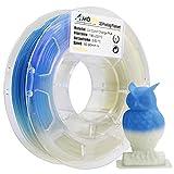 AMOLEN 3D Drucker Filament, UV/Sonnenlicht Farbwechsel zu Blau, PLA Filament 1.75mm 200G(0.44lb),+/- 0.03 mm 3D Drucker Materialien, enthält Proben UV Farbwechsel zu Lila Filament.