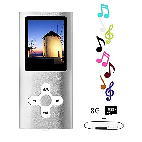 Btopllc MP3 Player, MP4 Player, Musik Player, Portable 1.7 Zoll LCD MP3 / MP4 Player, Media Player 8GB Karte, Mini USB Port USB Kabel, HiFi MP3 Musik Player, Voice Recorder Media Player - Silber