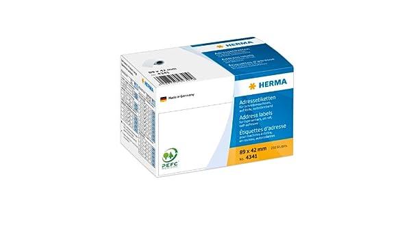 Papier matt selbstklebend Herma 4341 Adressetiketten f/ür Schreibmaschinen auf Rolle 250 Adressaufkleber wei/ß 89 x 42 mm