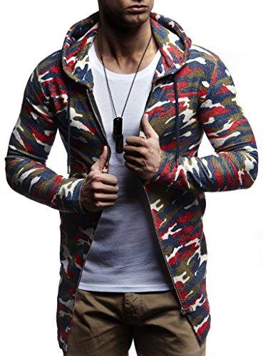 LEIF NELSON Herren Oversize Sweatjacke mit Kapuze Jacke Hoodie Hoody LN6301; Größe XXL, Camouflage Rot (Rot Herren-pullover Weste)