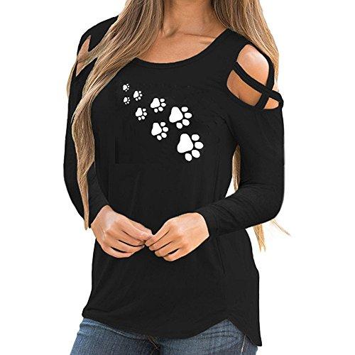 Kobay maglia a manica lunga estate stampa cinghietti cold shoulder t-shirt supera le camicette(nero,large