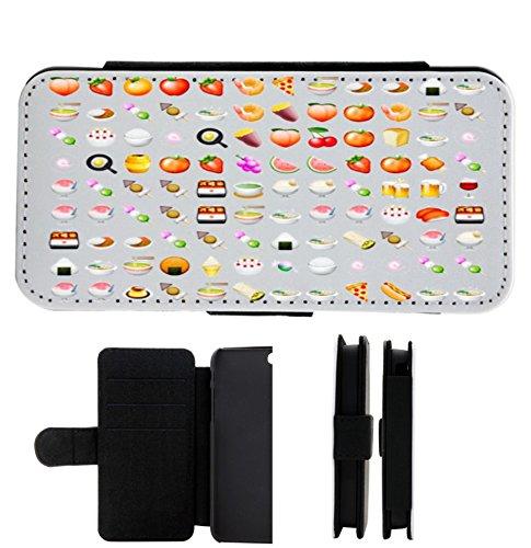 """Leder Flip Case Apple IPhone 5/ 5S/ SE """"Obst Gemüse Vegan Vegetarische Smileys"""", der wohl schönste Smartphone Schutz aller Zeiten."""