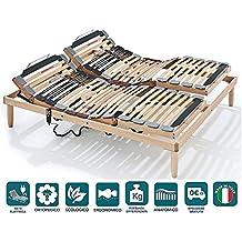 Evergreenweb Sommier orthopédique électrique motorisé, deux soulèvements  séparés, lattes en bois 4 zones inclinables 32346b5c3757