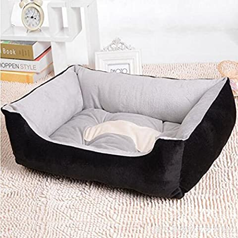 Lit doux pour les petits chiens de moyenne taille Taille de coton quatre étages XXS-XL (S: 60 * 45 * 15 cm, Noir)