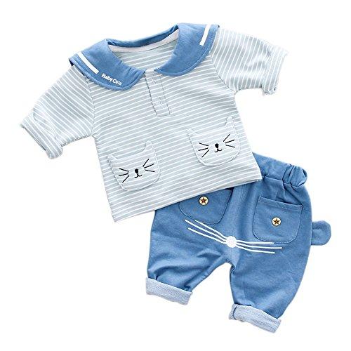 z-Baby-Tarnungs-Kurzschluss-Hülsen-nettes Katzen-T-Shirt lange Hosen 2Pcs Ausstattungs-Frühlings-Sommer-Ausstattung (Einzigartige Ein Von Einer Art Halloween-kostüme)