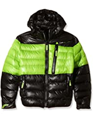 Peak Mountain Ecaptin–Anorak para niño, Niño, color negro y verde claro, tamaño 14 años