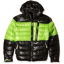 Peak Mountain Ecaptin–Anorak para niño, Niño, color negro y verde claro, tamaño 3 años