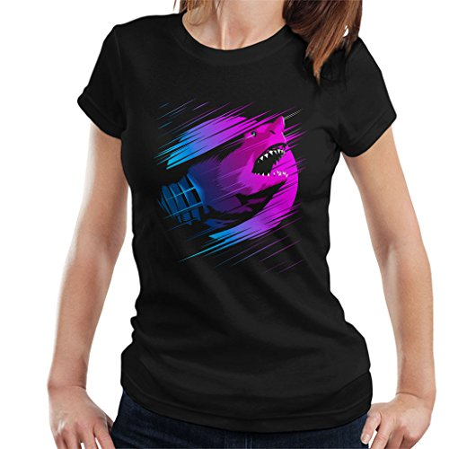 Cloud City 7 Rising Shark Degrade Women's T-Shirt Black