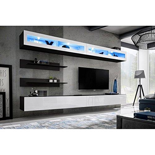 Paris Prix - Meuble TV Mural Design Fly VII 320cm Blanc & Noir