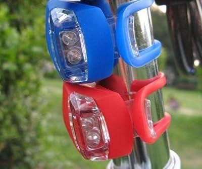 COM-FOUR® Mini LED Silikon Fahrrad Vorderlicht und Rücklicht Set
