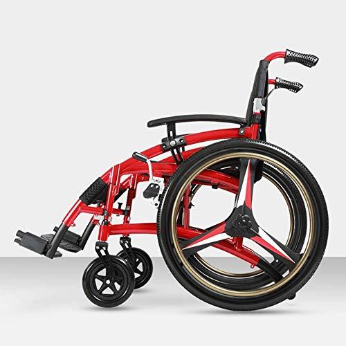 PLLP Medizinischer Rehabilitationsstuhl, Rollstuhl, Leichtgewicht Faltbarer Verstellbarer Rollstuhl Fahren Medizinischer, Älterer Verdickter Aluminiumlegierungsbehinderter Roller Manuell Aufblasbar