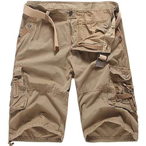 Xmiral Shorts Herren Reißverschluss Overall Streifen Kurze Hose Mit Taschen Sports Hose Training Shorts Fitness Beachshorts(Gelb,3XL)