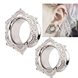 Damen Ohrringe Schmuck Ohrstecker stecker DAY.LIN 1 Para New White Brass Tunnel Ohrstecker nur verzierten Kupfer Piercing Schmuck Ohr (10 mm) Bild