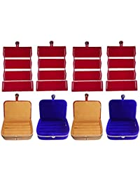 Afrose Combo 4 Pc Red Earring Folder 2 Pc Ring Box And 2 Pc Blue Ear Ring Box Jewelry Vanity Box