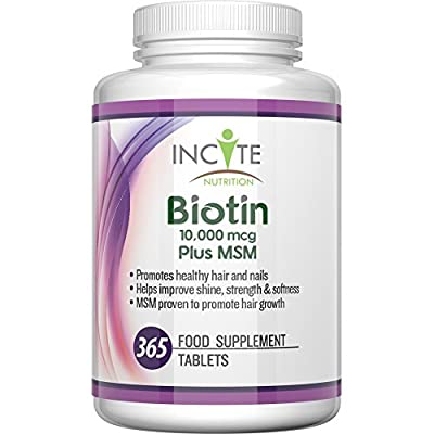 Biotin + MSM Hair Growth Vitamins 10000MCG Biotin + 250mg MSM 365 Tablets (1 YEARS SUPPLY!) MONEY BACK GUARANTEE UK Made BUY 2 GET FREE UK DELIVERY 6 Month + Supply Best Supplements for Hair Loss Best Beauty Treatment for Men and Women - Glucosamine - Inc