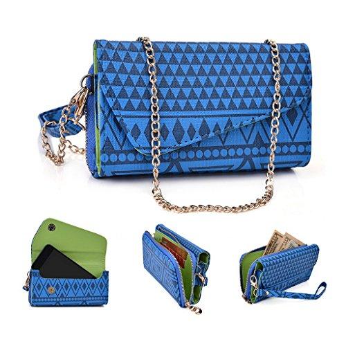 Kroo Pochette/étui style tribal urbain pour Nokia Asha 501 Noir/blanc bleu marine