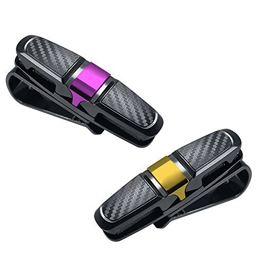 [2 stück] Htianc Auto Brillenhalter, Sonnenbrillenhalterung Birllenhalterung Clip Brillen Halter Clip für Auto Sonnenblende, 180°-Drehung, Schwarz (Schaum-visier)