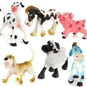 Lot de 6pcs Figurines Animaux de Ferme en Plastique Jouet Multicolore