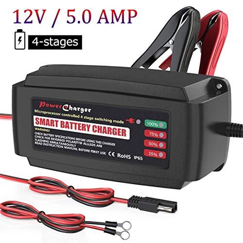 Bmk, caricabatterie da 12V, 5A completamente automatico, mantenitore di carica a 4 posizioni, ricarica intelligente, impermeabile, per batteria al piombo acido di auto, moto, scoot