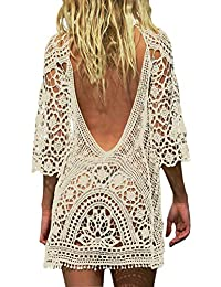 a07f16ab1ee35 Sexy Women s Bathing Suit Cover Up Crochet Lace Bikini Swimsuit Smock