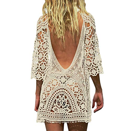 Femme Mini Robes de Plage Tunique Pull Kimono Bohême Mode Dos Nu Bikini Cover Up Crochet Blouse/Robe de Plage Dentelle Crochet Maillot de Bain Cover Up Femme Sexy Dentelle Robe