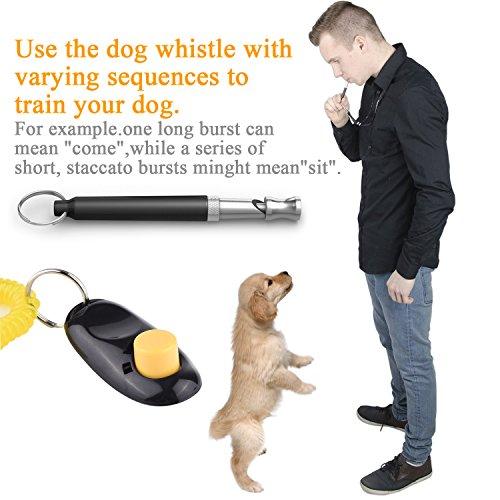 Poppypet Ultraschall Hundepfeife, Ultraschallpfeife fur Hunde Outdoor Survival Notfallexploring, Ultraschall Hundetraining Whistle und Hundeclicker Schwarz - 4