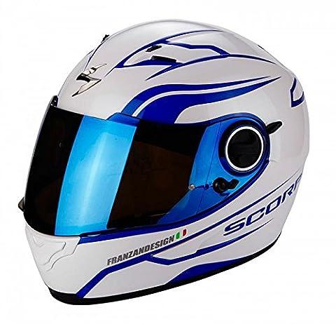 Scorpion Exo 490Luz Blanc/bleu casque de moto