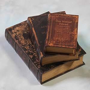 Set of 3 Antiqued Faux Leather Mock Book Storage Sets