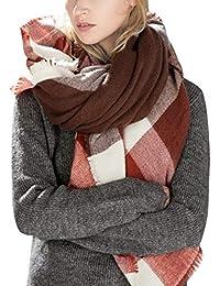 e44934ba5c8 Yidarton Écharpe Chale Femme Cachemire Chaud Automne Hiver Grand Plaid  Tissu Glands Foulard