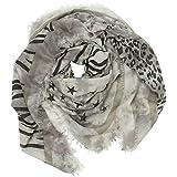 CASPAR SC466 Damen großer XXL Schal / Tuch mit Schrift Leo Tiger Stern Print, Farbe:grau;Größe:One Size