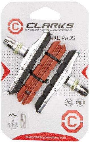 Clarks - Porta pattini filettato + pattini in omaggio, per freno V-Brake tipo XTR, colore: Nero/Rosso