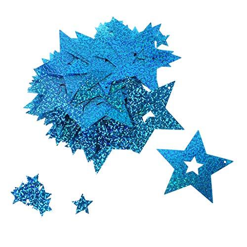 LANDUM 100 Stück glänzende Sterne Herz Papp-Ballons Anhänger Band Hochzeit Dekoration, Plastik, Blue 2, 4 x 4cm