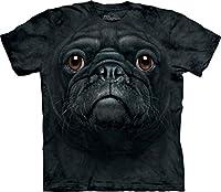 The Mountain Unisex Erwachsen Black Pug Face Hund T Shirt - The Mountain