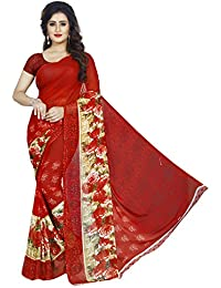 Kashvi Sarees Faux Georgette Printed Red Color With Blouse Piece ( 1360 )