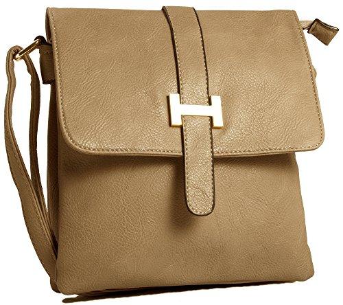 Big Handbag Shop mittelgroße Damen Schultertasche Umhängetasche Cross Body mit mehreren Taschen Aprikose