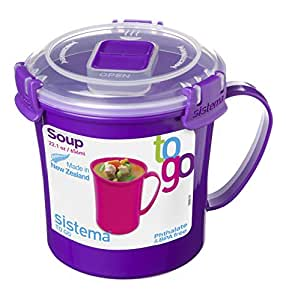 Sistema Klip Si Singola Micro-ondes Soup To Go Tasse, 656 ml, Couleurs Assorties