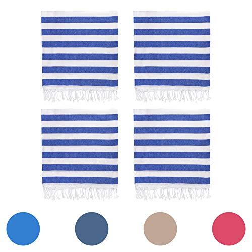 Nicola Spring 100% Türkisch Baumwolle Handtuch-Set | Strand Bad Fitnessraum Sauna | Hammam Pestemal Fouta Stil Werfen Blatt - Blauer Streifen - 4er-Pack