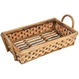 Aashi Enterprise Multipurpose Cane Basket Tray, 17x9x3.5 Inches (Brown)
