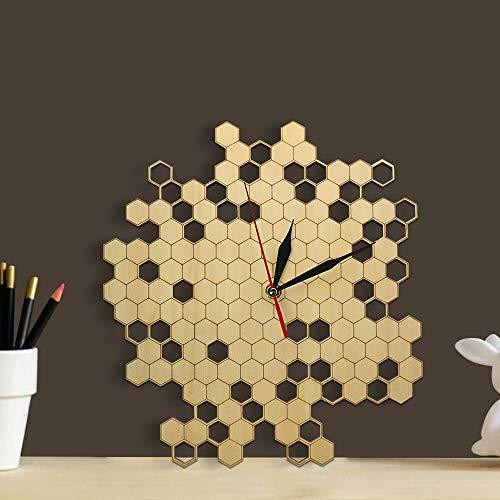 ZOBONI Wanduhr Imker-Bienenwaben-natürliche hölzerne Wanduhr-Hexagon-Wand-Kunst-hölzerne Bienen-Honig-zeitgenössische hölzerne Uhr