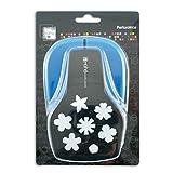 Mahé opxe10Maxi–Perforadora, diseño de Flores plástico Negro 12,5x 19x 9cm