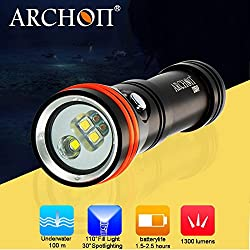 Archon D15vp 2en 1plongée vidéo et spot LED Cree 1300lm éclairage sous-marin lampe de poche