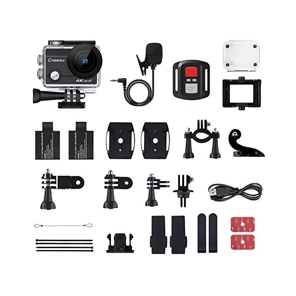 Crosstour 4K 20MP Action Camera Webcam WiFi EIS Waterproof 40M with External Microphone and Remote Control 9