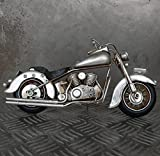 XL Blechmodell Motorrad 27cm silber Metallmodell Harley Bike Chopper